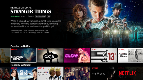 The Netflix menu board for Stranger Things.