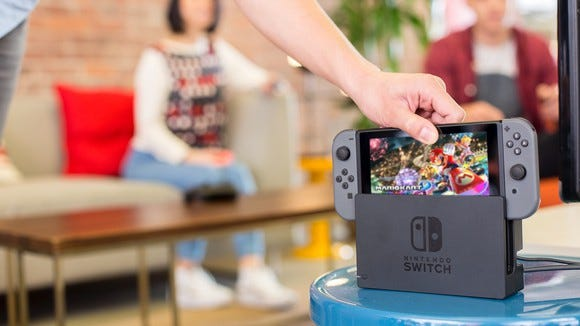 The Nintendo Switch in its dock.