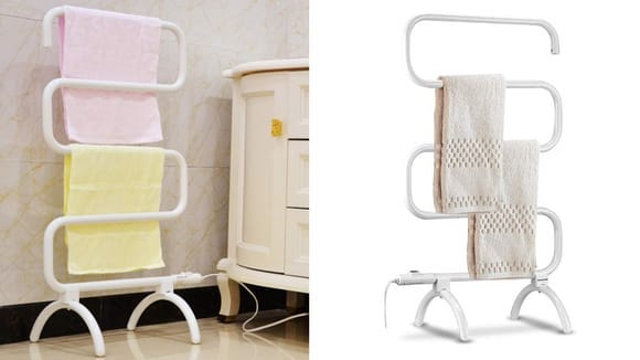 The rack can be freestanding or mounted to the wall.