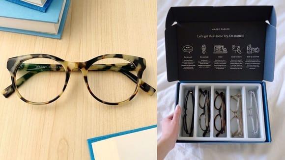 Warby Parker glasses.