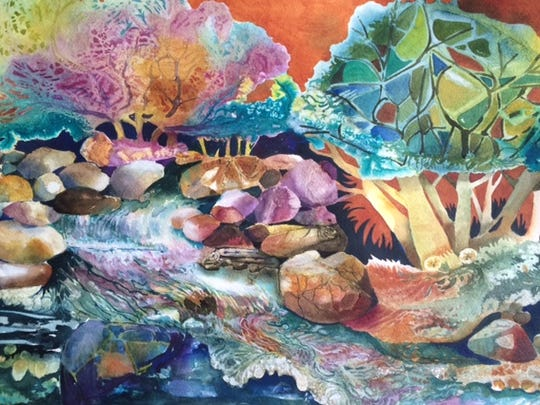 """Energy,"" a watercolor by Evilyn Grass is on display at UW-Sheboygan."