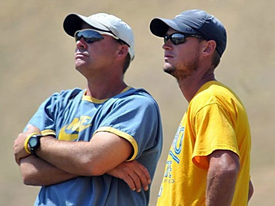 Angelo State University athletic director James Reid, left, and head track and field coach Tom Dibbern are pictured in a file photo.