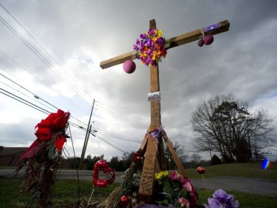 A roadside memorial for Gordon Kyle Anito sits at the intersection Hill Road and Andersonville Pike on Wednesday, Feb. 8, 2012. The memorial marks the spot where Anito was killed during a high-speed early-morning chase on Nov. 26 when pursued by Tennessee Highway Patrol Trooper Charles Van Morgan.