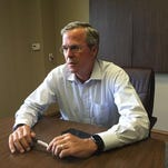 Jeb Bush conducted an interview with Gannett Louisiana at the Ruston Regional Airport in July.