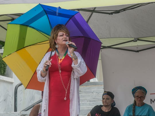 Ambrosia Starling speaks to guests at the Capitol. The Montgomery Pride March and Rally took place Saturday, June 23, 2018, in downtown Montgomery, AL, with a walk from Club 322 to the Capitol steps.