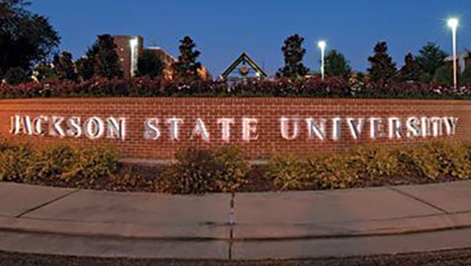 File photo/The Clarion-LedgerSign for the Jackson State University campus in downtown Jackson.