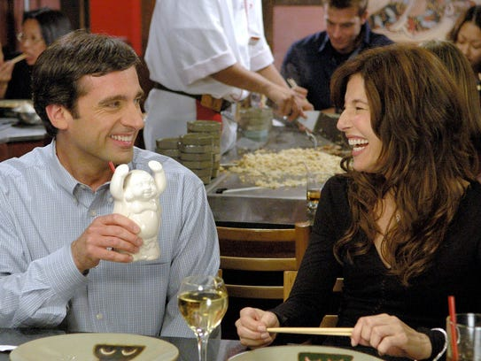 Steve Carell (left) and Catherine Keener appear in