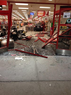A car, possibly stolen according to the Lee County Sheriff's Office, smashed through the front doors of the Rural King store in Bonita Springs on Thursday morning. No injuries were reported.