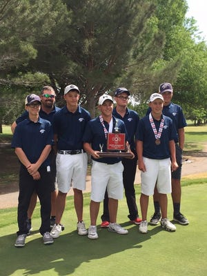 The Piedra Vista boys golf team poses for a photo after finishing second at the 6A state tournament in Roswell.