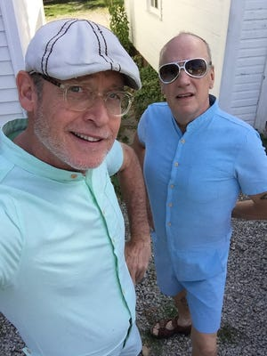"""Jim Kelly (left) and Jeff Ayers (wearing a onesy), artists, raconteurs and dominators of """"Let It Out"""" since 2015."""