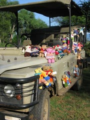 Donated bears await their new owners.