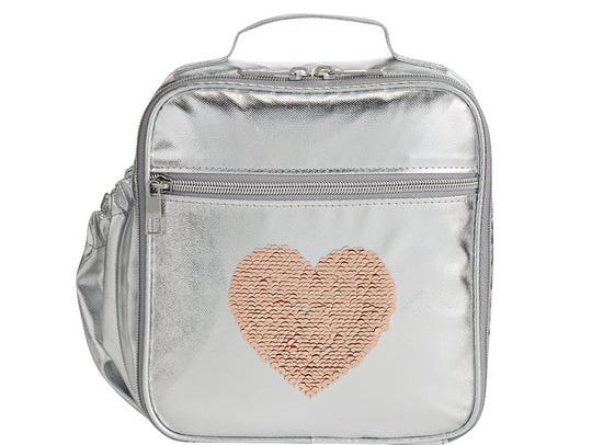 Silver Sequin Heart Lunch Bag