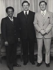 File photo: Sen. Birch Bayh, D-Ind. (center), Gene Brooks (right) and Lake County Superior Court Judge James Kimbrough Jr. (left) (2/16/1979)