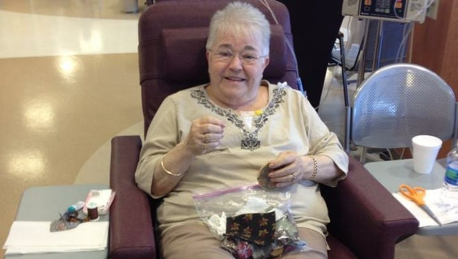 Brenda Gentry goes through one of her chemotherapy treatments after her original diagnosis for colon cancer.