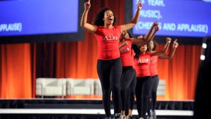 Delta Sigma Theta steppers dance before Chelsea Clinton speaks at the opening plenary session for the Points of Light service conference June 16, 2014, in Atlanta.