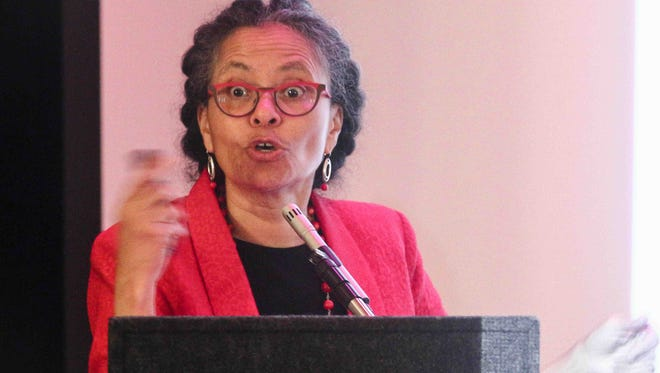 Dr. Camara P. Jones, president of the American Public Health Association, speaks  Thursday, March 10, 2016, at Theatre N in Wilmington.
