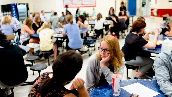 Members chat at the Big Brother Big Sister club meeting at South-Doyle High School in Knoxville, Tennessee on Thursday, May 17, 2018. This group is part of the Big Brother Big Sister Mentor 2.0 program.