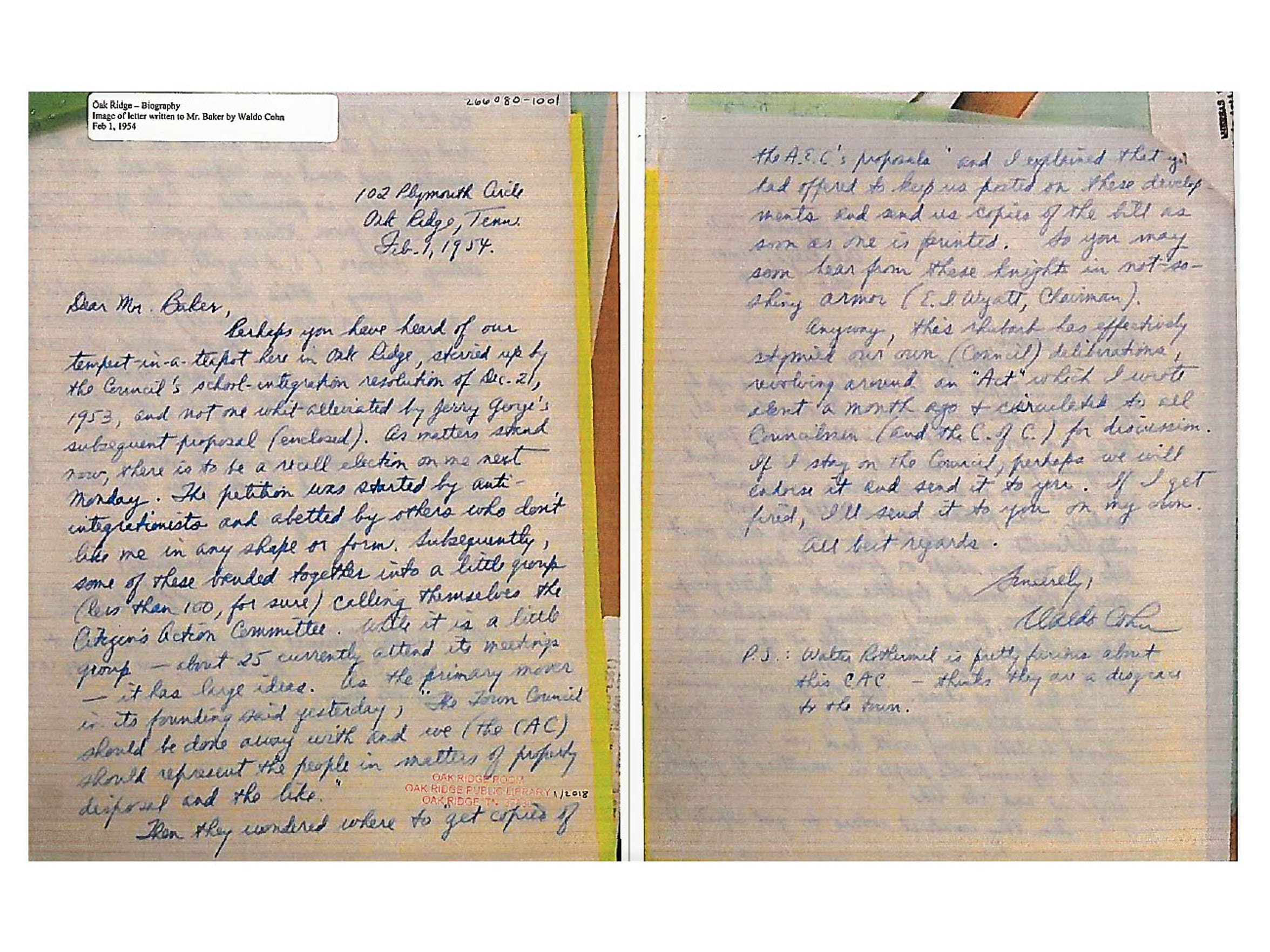 Oak Ridge Councilman Waldo Cohn wrote to U.S. Rep.