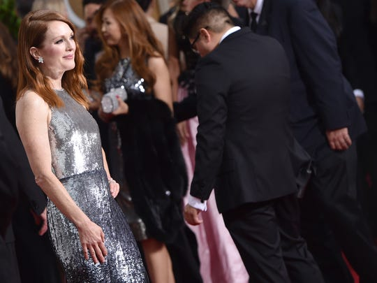 Julianne Moore arrives at the 72nd annual Golden Globe