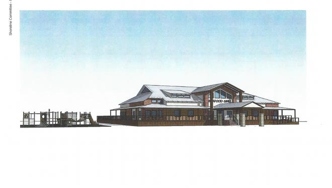 Developer Niles Bryan has created initial renderings for his Spillway Road seafood restaurant.