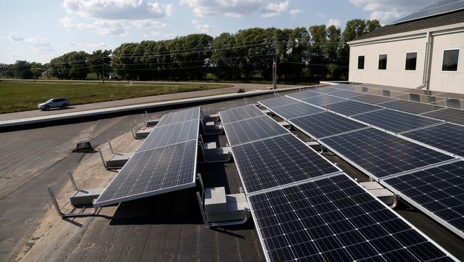 Solar panels on the roof of St. John the Apostle Catholic Church in Norwalk.