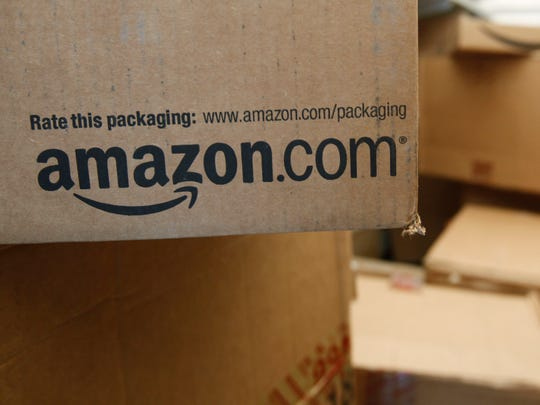 An Amazon.com package awaits delivery.