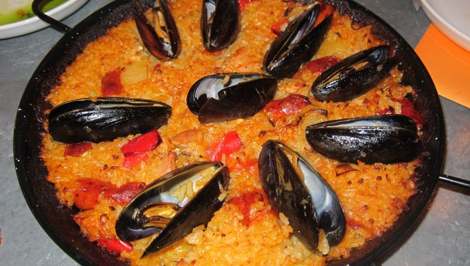 Paella for two (also available for four), a special that changes daily.