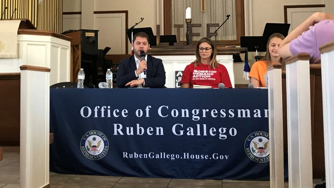 Rep. Ruben Gallego speaks during a town hall at First Church UCC in Phoenix on April 14, 2018.