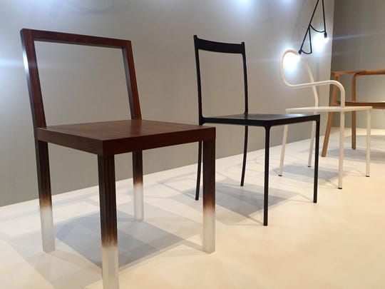 Oki Sato plays with materials, making the wooden seat