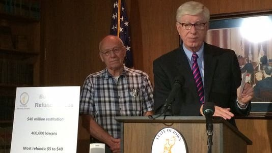Iowa Attorney General Tom Miller announced in a morning press conference that more than 400,000 Iowans will receive refunds from companies that offered illegal buying club memberships. Des Moines man Richard Schulz, 75, will receive approximately $1,500.