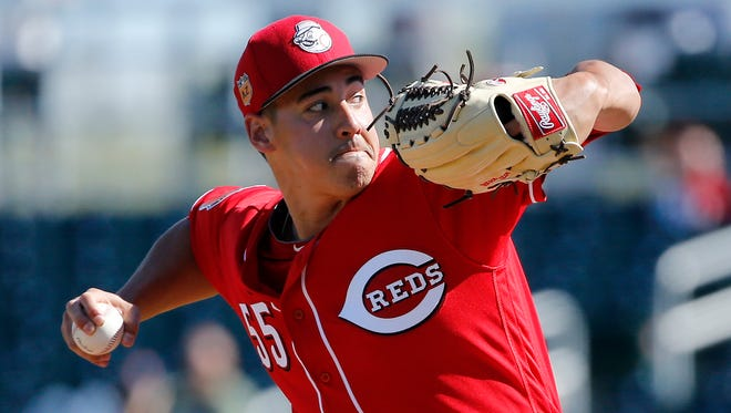 Cincinnati Reds starting pitcher Robert Stephenson (55) delivers a pitch in the top of the third inning of the MLB Spring Training game between the San Francisco Giants and the Cincinnati Reds at Goodyear Ballpark in Goodyear, Ariz., on Sunday, Feb. 26, 2017.