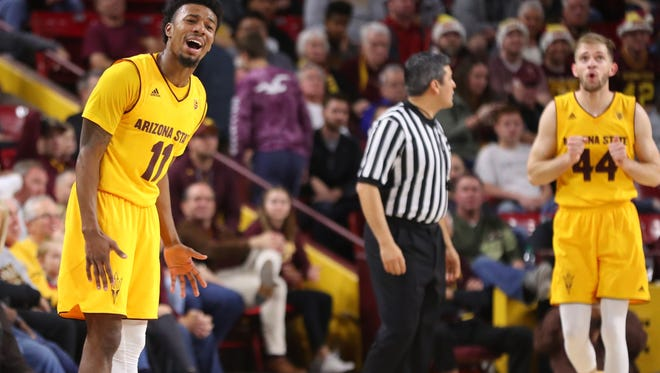 Shannon Evans (11) and Kodi Justice (44) have struggled for ASU in conference play. Since the Kansas game, Evans has averaged 12.2 points, shooting 25 percent from the field, including 9 of 47 from 3-point range.