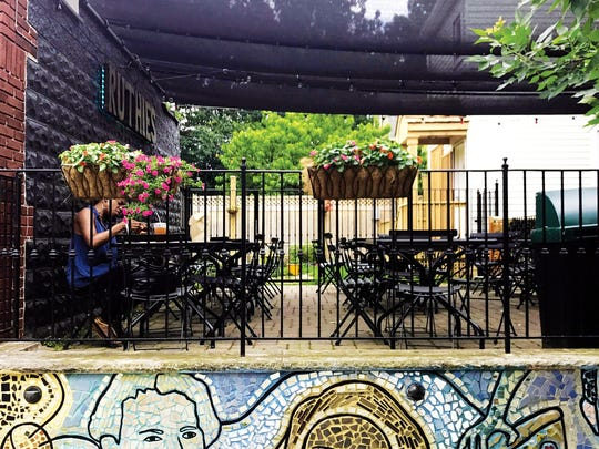 The outdoor patio at Ruthie's BBQ & Pizza in Montclair