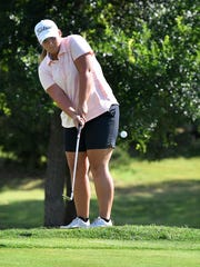 Olney's Mattie Barrington is in third place after the first round of the Class 2A Girls Golf Tournament.