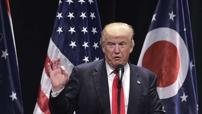 Republican presidential nominee Donald Trump speaks during a rally at Stranahan Theater in Toledo, Ohio on September 21, 2016.