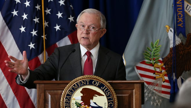 U.S. Attorney General Jeff Sessions made remarks about fighting crime and the opiod epidemic at the U.S. AttorneyÕs Office Western District of Kentucky in Louisville.  