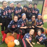 Madness '02 went 5-0 while outscoring their opponents 35-8 to capture the PGF Qualifer Ren-Fest 14-and-under girls softball title, Oct. 3-4, in Grand Blanc. In the finals, Madness '02 fell behind 4-0 before rallying for an 8-6 victory over the Millington Cardinals thanks to a two-out, two-run single by Abbey Barta. Team members include (front row, from left): Kylie Millhorn, Grace Nieto; (middle row, from left) Gaby Cummings, McKenna King, Cassidy Brendtke, Shea Scott; (back row, from left) Karlie Moore, Chelsea Collins, Barta, coach Sheryl Kersten, Sierra Kersten and Bella Brass.