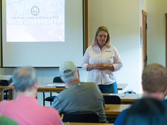 Alexandra Sandoval, director of the New Mexico Game and Fish Department, answers questions during a presentation and open house Thursday June 28, 2018, as the Mesilla Valley Bosque transitions from being managed as a state park to an area under Game and Fish.