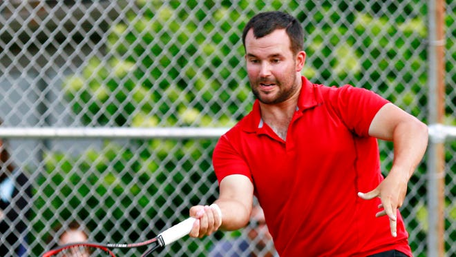 Phil Myers defeated Jim Kohr, 7-5, 6-0, in the York City-County Tennis Tournament Men's Singles title match on Saturday evening. YORK DISPATCH FILE PHOTO