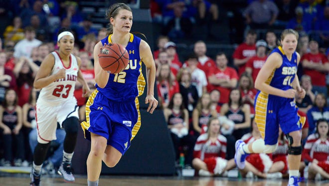 SDSU's Macy Miller charges down the court as they take on USD in Tuesday's Summit League women's basketball championship at the Denny Sanford Premier Center in Sioux Falls, S.D. March 10, 2015. SDSU beat USD 72-57.