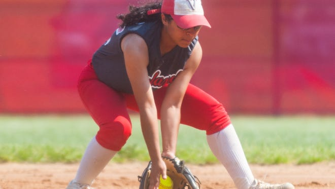 Vineland second baseman Gabrielle Pratts (22) fields an ACIT grounder at Vineland High School on Tuesday, May 15.