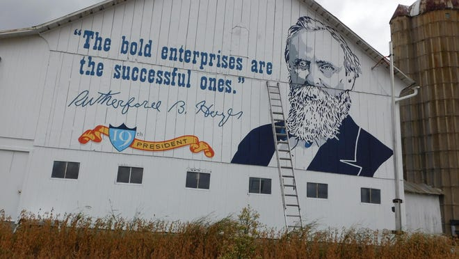 A mural of Fremont's Rutherford B. Hayes is painted on a barn on Fangboner Road, next to the Ohio 53 turnpike exit. Mural of Rutherford B. Hayes on Fangboner Road barn helps celebrate 60 years of the Ohio Turnpike.