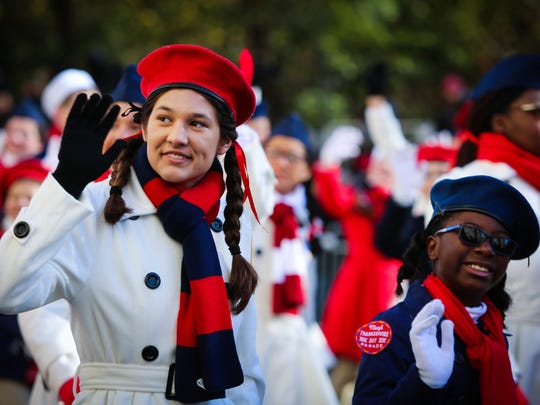 Royal Palm Academy eighth-grader Alexis Anand, 14, marches in the 91st annual Macy's Thanksgiving Day Parade with Camp Broadway in New York City on Thursday, Nov. 23, 2017.