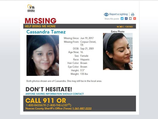 Cassandra Tamez, 16, was last seen in June 2017. She
