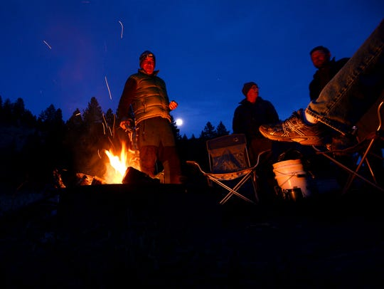 Moonrise over the campfire at Lower Cow Coulee campground.