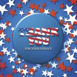 Thank you for your service, military appreciation card with star