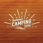 Summer camp badge, outdoor logo. Emblems and labels, White paper