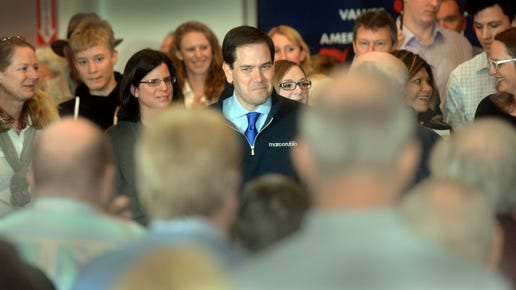 Marco Rubio enters the Frank Jones Center in Porstmouth and talks about what the country needs and how he can make it happen as the next president as he speaks to supporters early Thursday morning.Deb Cram/Seacoastonline