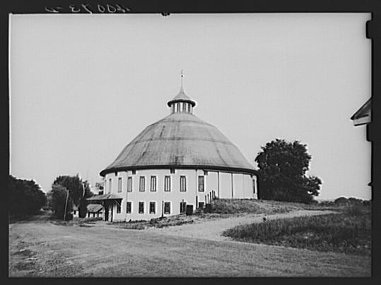 This photo by Sheldon Dick shows the Round Barn near Arendtsville in 1938.