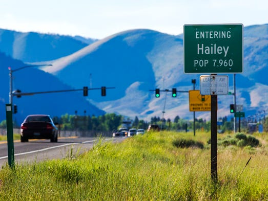 A sign welcomes motorists on Highway 75 in Hailey, Idaho. Hailey is the  hometown of former prisoner of war, Sgt. Bowe Bergdahl.